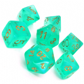 Green & Gold Borealis Polyhedral 7 Dice Set